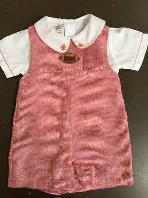 Boys 12 Months Boutique Smocked Football 2pc Shortall Simply Smock NY Re EUC