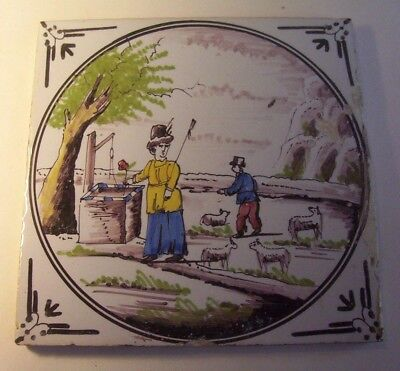Delft Tile c. 18th / 19th  (16)   Shepherds and Well