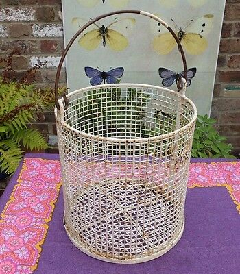 VINTAGE SHABBY METAL PLASTIC COATED WIREWORK BUCKET CONTAINER - industrial