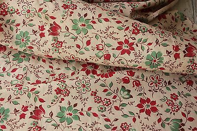 Antique French faded fabric light weight printed cotton  c1910 - 1920 red green