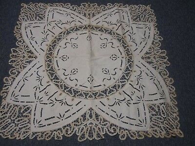 """VINTAGE IVORY LINEN with BATTENBERG LACE TABLECLOTH 45"""" SQUARE"""