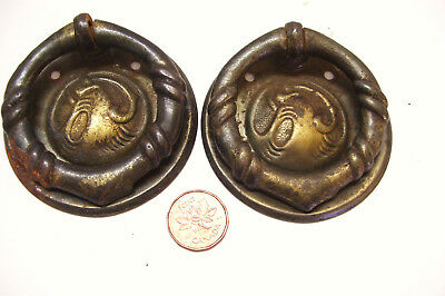 Pair of Drop Ring Drawer Pull Handles Art Nouveau Bronze Tone Vintage