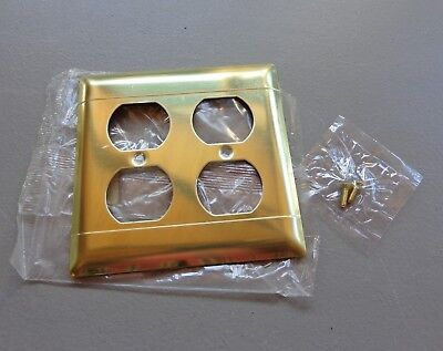 Vintage NOS P & S Shiny Brass Double Outlet Cover Plate w/Screws