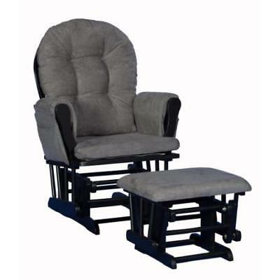 Stork Craft Custom Hoop Glider and Ottoman, Black/Grey New