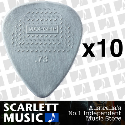 10 X Jim Dunlop Max Grip Nylon 0.73mm .73 Gauge Grey Guitar Picks *TEN PICKS*