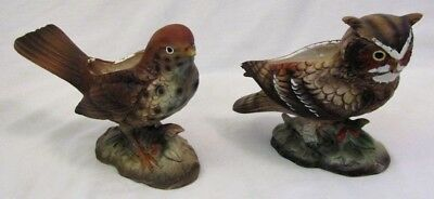 Vintage Lot of 2 LEFTON JAPAN Bird Figurines 8821 OWL & 3608 WOOD THRUSH