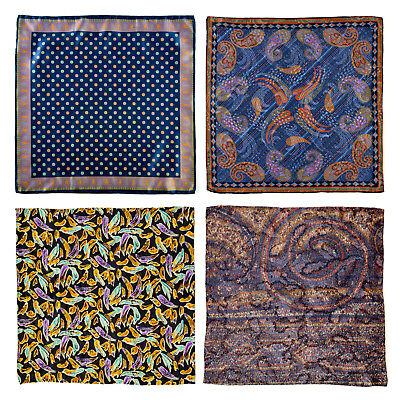 Lot 4 Men's SANTOSTEFANO Hand Rolled Silk Pocket Square Handkerchief Bundle