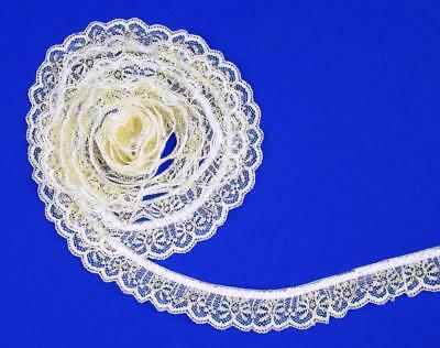 WHITE~4 Inch Wide Ruffled Floral  Lace Trim~By 5 Yards