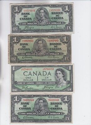 Canada Paper money group of 4 notes low grade and up