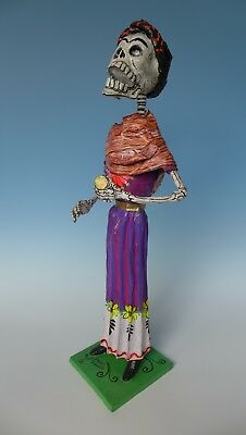"Large Mexican papier mache Day of Dead skeleton calaca FELIPE LINARES 29"" tall"