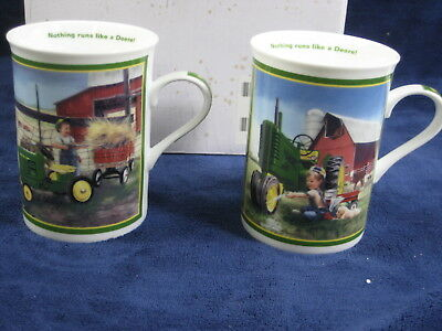 Lot of 2 Danbury Mint JOHN DEERE Coffee Mugs Child Toy Tractor Clean and Shiny