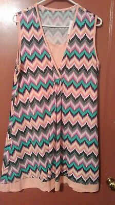 Chili Peppers Colorful Chevron Nursing Chemise New With Tags Medium