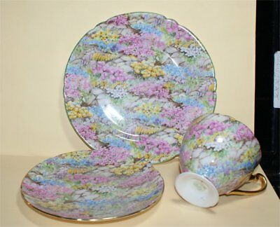 3 Piece  Shelley England Bone China Rock Garden Chintz Cup & Saucer Plate As Is