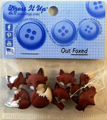 Fox Foxes 'out Foxed' Shank Buttons For Clothing Crafts Dress It Up