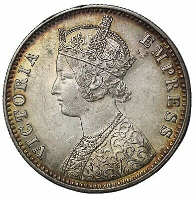 British India 1897-C Queen Victoria Silver One Rupee KM#492
