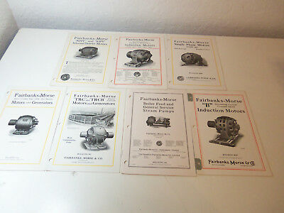 1922 Lot 7 Booklets FAIRBANKS-MORSE Bulletins MOTORS GENERATORS Steam Pumps