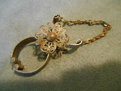 Old Vintage or Antique Ornate Filigree Clip Jewelry Decorative Metal Gold ish