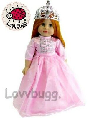 """Pink Princess Costume Gown Dress Gloves Tiara for 18"""" Doll Clothes American Girl"""