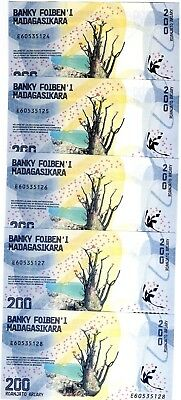 LOT Madagascar, 5 x 200 Ariary, 2017 P-New UNC, Completely Redesigned, Waterfall