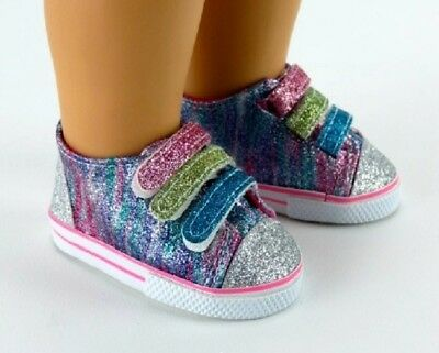 """Rainbow Glitter Sneakers Sparkle Tennis for 18"""" American Girl Doll Shoes Clothes"""