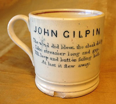 Antique 1860s Pearlware/Transferware Child's Mug Cup JOHN GILPIN on Horse w Poem