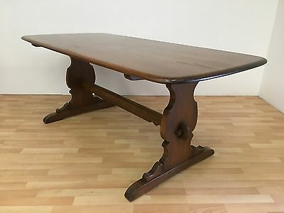 Fabulous Vintage Ercol Mid Century Elm Refectory Dining Table In Golden Dawn