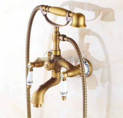 Antique Brass Telephone Style Clawfoot Bathtub Faucet Tub Mixer Tap Ptf311
