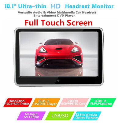 TFT LCD Car Headrest Monitor DVD Player 32 Bit Game HDMI/USB/SD/IR/FM Enterance