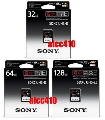 Sony 32GB 64GB 128GB SD SDHC SDXC Card G Series SF-G UHS-II 4K 300MB/s Read AU