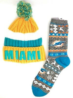 dcb1dccd MIAMI DOLPHINS FOOTBALL Ugly Christmas Gingerbread Socks with Miami ...