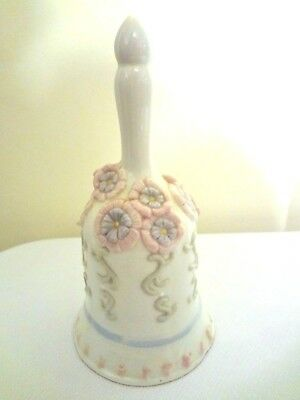 Pink, Blue & White Bell Ceramic 6.5 Inches Tall Flowers & Designs Pre-Owned