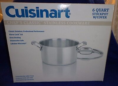 Cuisinart Chef's Classic Stainless Stockpot with Cover 6qt Saucepans, New