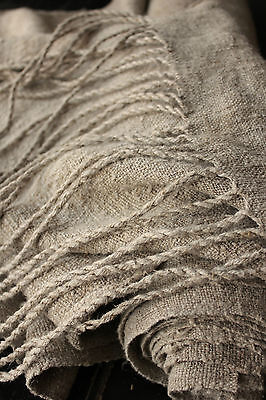 Antique HEMP material Upholstery fabric 7.1 YDS rustic DARK WASHED  Organic