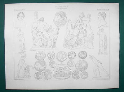 GREEK & ROMAN Coins & Sculpture Art Laocoon Farnese Bull - 1864 Print 11 x 14.5""