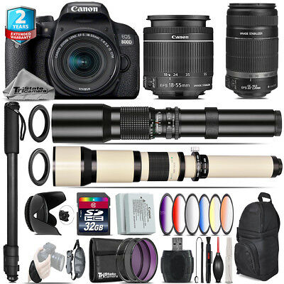 Canon EOS Rebel 800D T7i + 18-55mm IS STM + 55-250mm IS + 9PC Filter - 32GB Kit