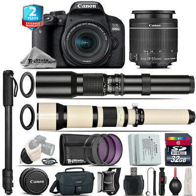 Canon EOS Rebel 800D T7i + 18-55mm IS STM + 500-1300mm + Extra Battery -32GB Kit
