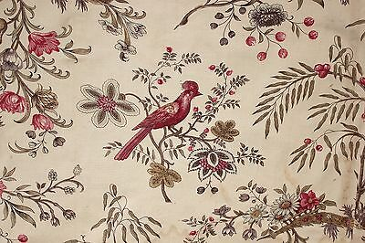 Antique French chintz linen cotton  old woodblock printed  c 1830 Indienne