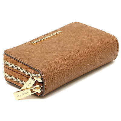 Michael Kors Jet Set Travel Double Zip Leather Card Case Holder Luggage New NWT