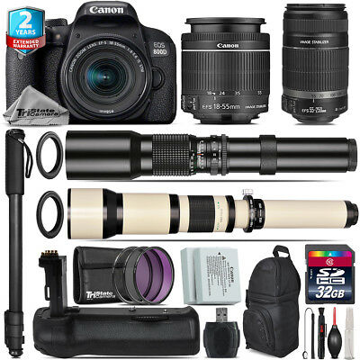 Canon EOS Rebel 800D T7i + 18-55mm IS STM + 55-250mm IS + Battery Grip -32GB Kit