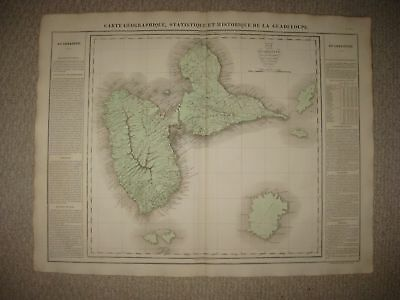 Huge Folio Antique 1825 Guadeloupe Caribbean West Indies Carey & Lea Buchon Map