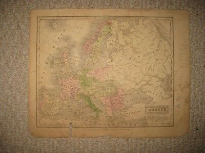 Antique 1829 Europe Handcolored Map Austria Germany Russia Italy France Prussia
