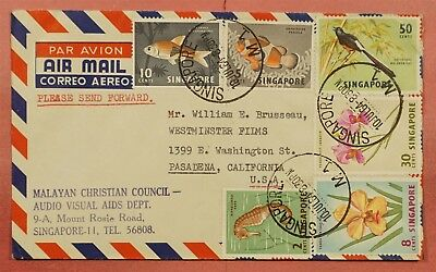 1964 Singapore Christian Council Corner Airmail Cover To Usa