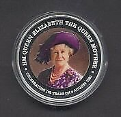 2000 Cook Islands Queen Mother 1oz Silver Coloured Proof Coin
