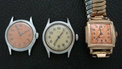 Three men's Antique/Vintage/Old/Estate Wrist Watches for parts or repair