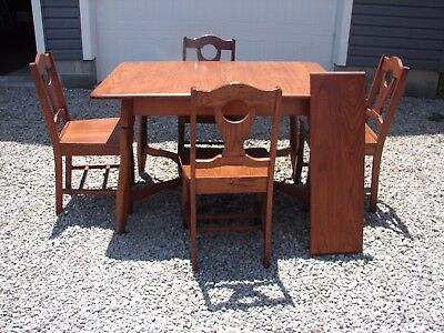 Antique Vintage Oak Table with Leaf and 4 Chairs