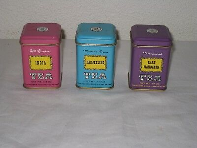 Vintage Three Tiny John Wagner & Sons Tea Containers