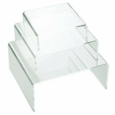 HUJI Clear Medium Low Profile Set of 3 Acrylic Risers Display Stands (1 SET,