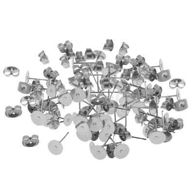 30 Pairs Stainless Steel Ear Posts Butterfly Backs DIY Crafts Earring Pad