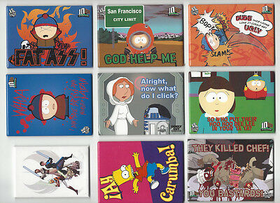 Lot of 13 Assorted Refrigerator Magnets South Park Simpsons Star Wars:Clone Wars