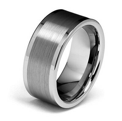 Tungsten Carbide Center Brush 10MM Flat Edge Mens Wedding Band Wedding Ring M42